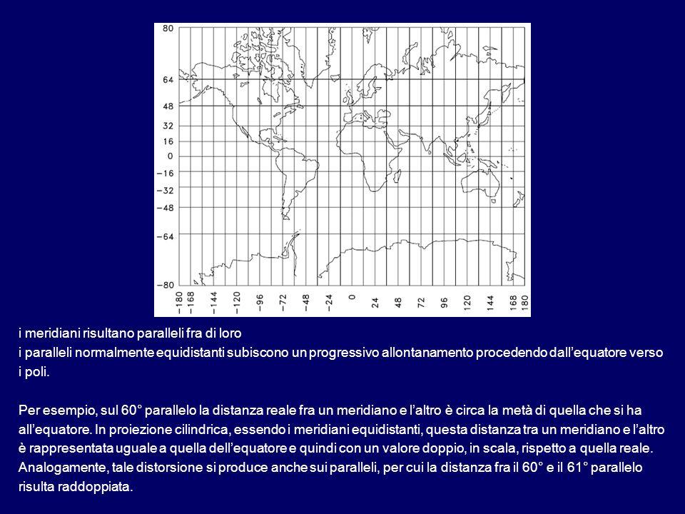 i meridiani risultano paralleli fra di loro i paralleli normalmente equidistanti subiscono un progressivo allontanamento procedendo dallequatore verso