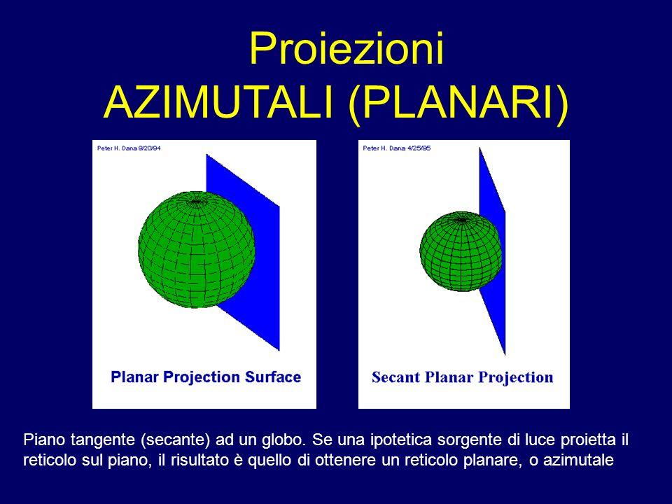 Proiezioni AZIMUTALI (PLANARI) Piano tangente (secante) ad un globo. Se una ipotetica sorgente di luce proietta il reticolo sul piano, il risultato è