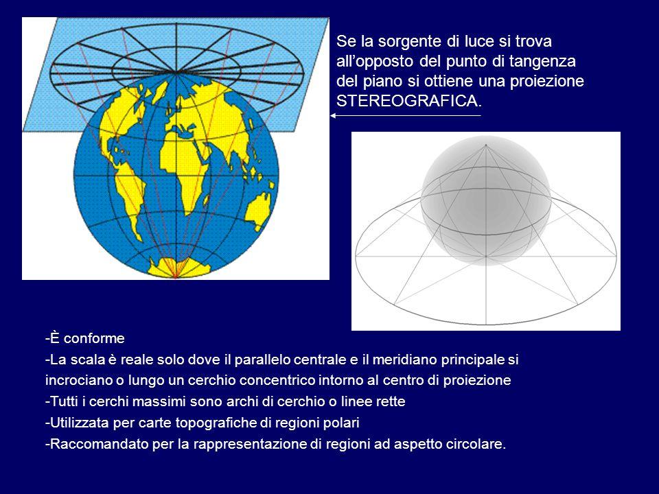 Se la sorgente di luce si trova allopposto del punto di tangenza del piano si ottiene una proiezione STEREOGRAFICA. -È conforme -La scala è reale solo