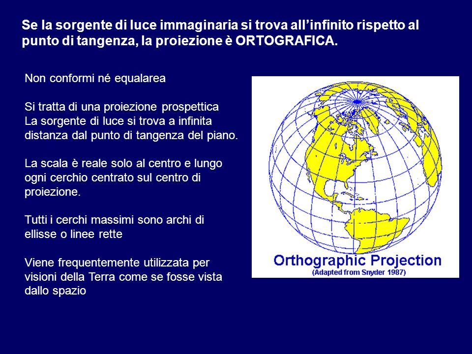 Non conformi né equalarea Si tratta di una proiezione prospettica La sorgente di luce si trova a infinita distanza dal punto di tangenza del piano. La
