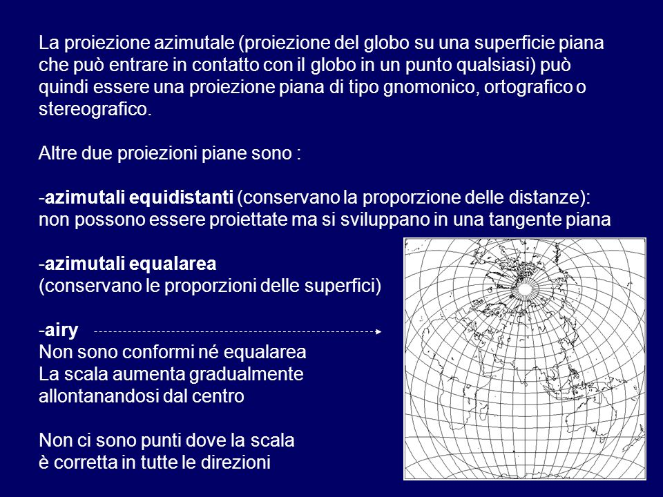 La proiezione azimutale (proiezione del globo su una superficie piana che può entrare in contatto con il globo in un punto qualsiasi) può quindi esser