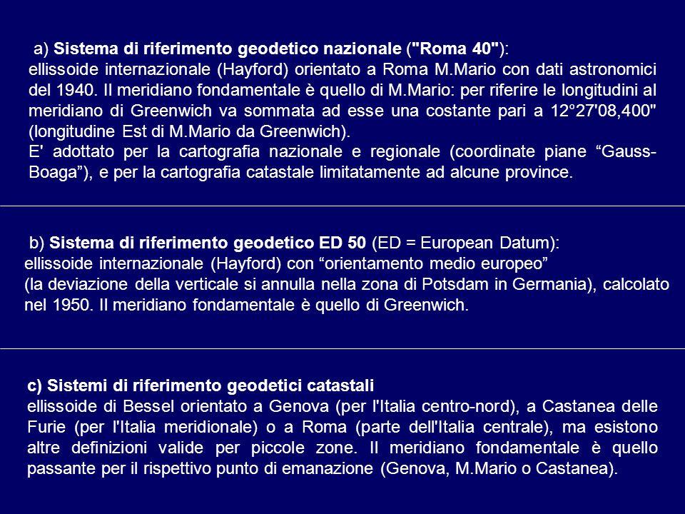 a) Sistema di riferimento geodetico nazionale (