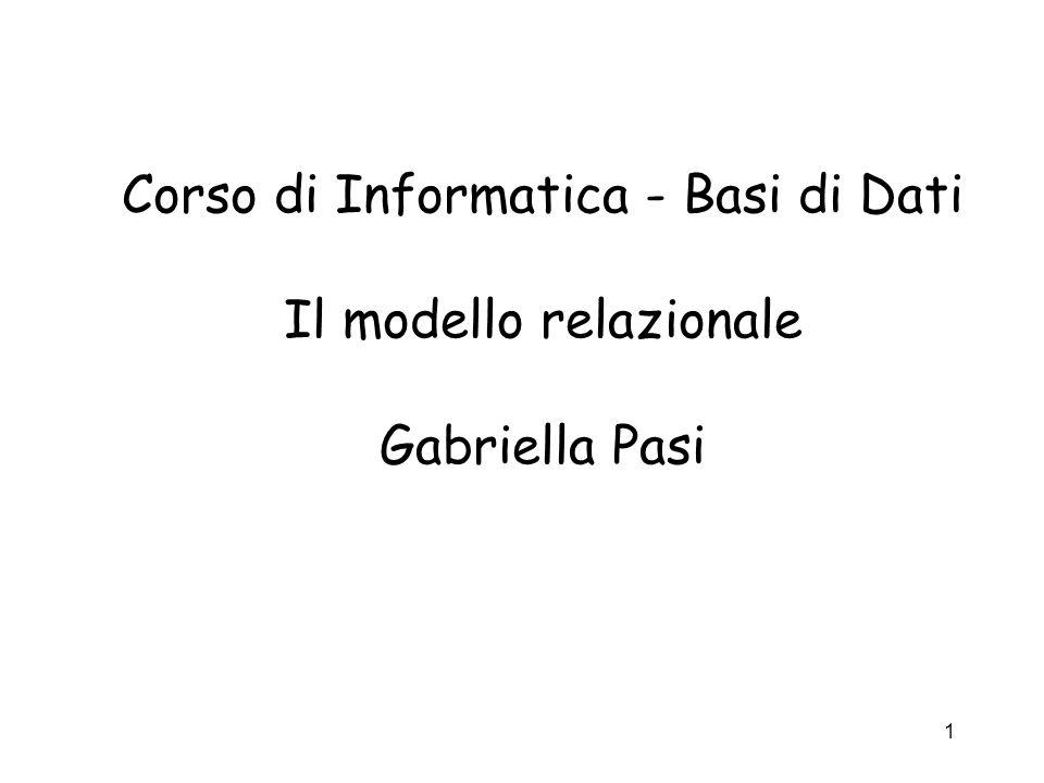 1 Corso di Informatica - Basi di Dati Il modello relazionale Gabriella Pasi