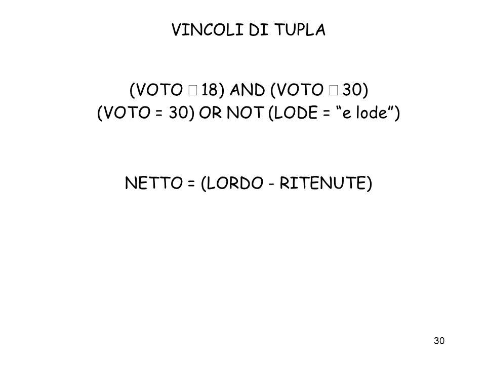 30 VINCOLI DI TUPLA (VOTO 18) AND (VOTO 30) (VOTO = 30) OR NOT (LODE = e lode) NETTO = (LORDO - RITENUTE)