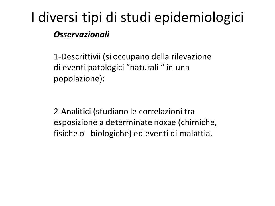 I diversi tipi di studi epidemiologici Osservazionali 1-Descrittivii (si occupano della rilevazione di eventi patologici naturali in una popolazione): 2-Analitici (studiano le correlazioni tra esposizione a determinate noxae (chimiche, fisiche o biologiche) ed eventi di malattia.