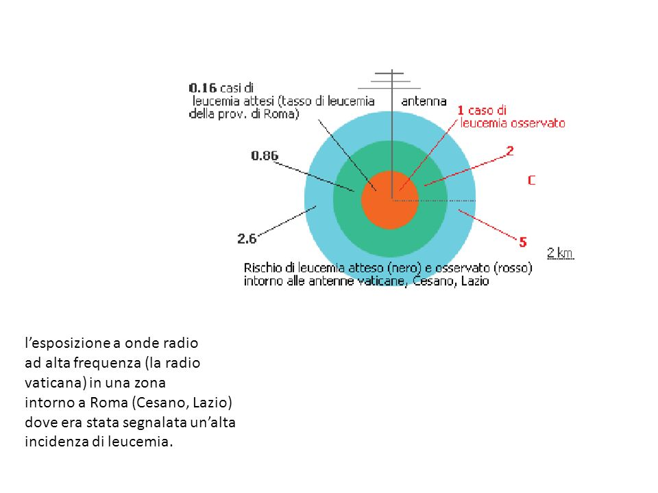 lesposizione a onde radio ad alta frequenza (la radio vaticana) in una zona intorno a Roma (Cesano, Lazio) dove era stata segnalata unalta incidenza di leucemia.