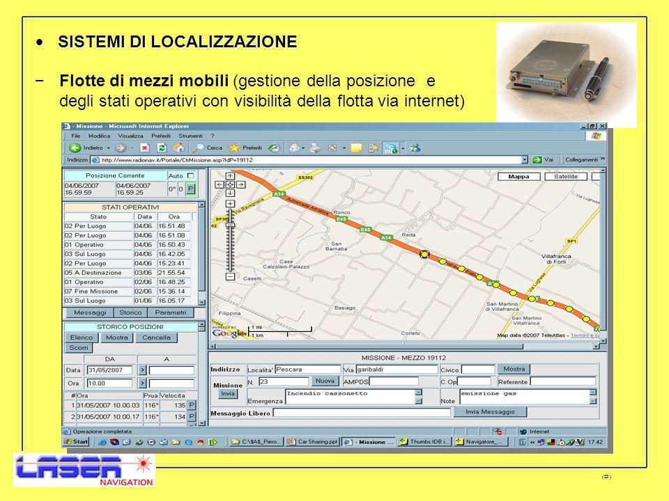 11 – Flotte di mezzi mobili (gestione della posizione e degli stati operativi con visibilità della flotta via internet) SISTEMI DI LOCALIZZAZIONE SISTEMI DI LOCALIZZAZIONE