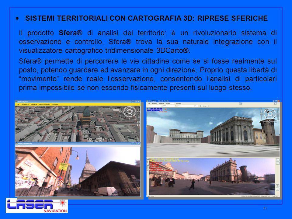 8 SISTEMI TERRITORIALI CON CARTOGRAFIA 3D: RIPRESE SFERICHE Il prodotto Sfera® di analisi del territorio: è un rivoluzionario sistema di osservazione e controllo.