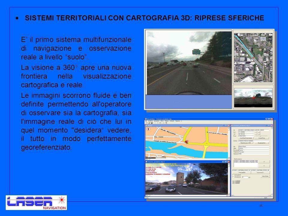 9 SISTEMI TERRITORIALI CON CARTOGRAFIA 3D: RIPRESE SFERICHE E il primo sistema multifunzionale di navigazione e osservazione reale a livello suolo.