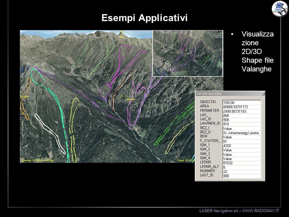 LASER Navigation srl – WWW.RADIONAV.IT Esempi Applicativi Visualizza zione 2D/3D Shape file Valanghe