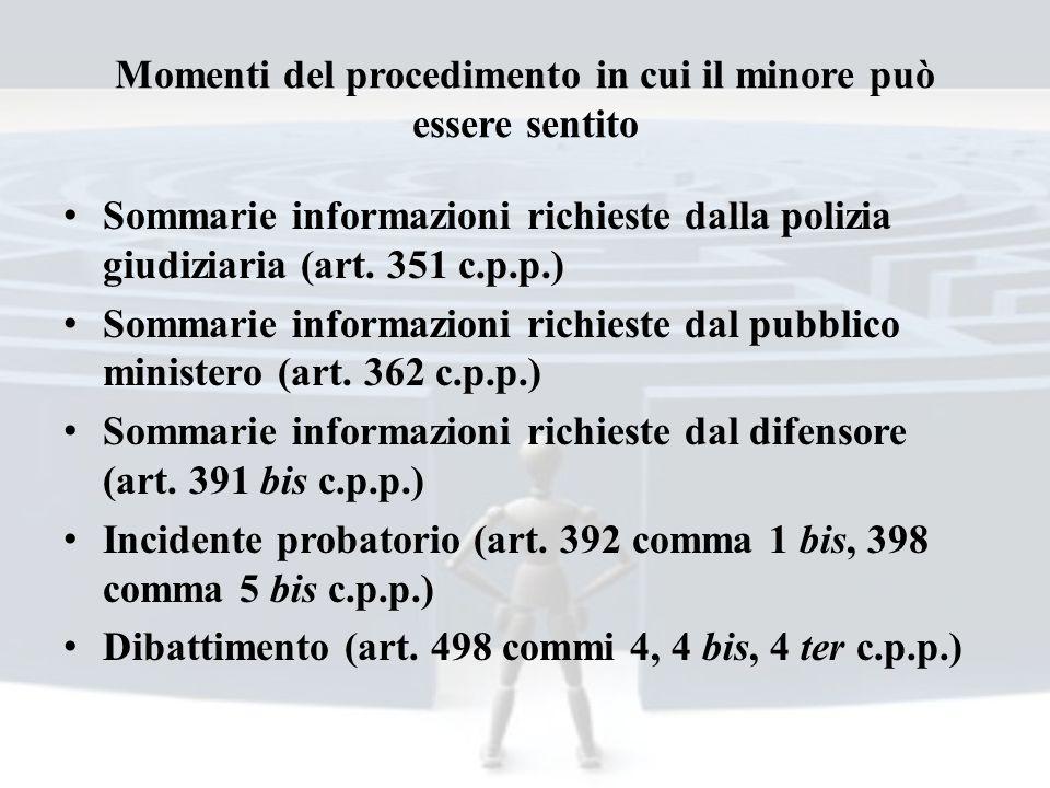 Momenti del procedimento in cui il minore può essere sentito Sommarie informazioni richieste dalla polizia giudiziaria (art. 351 c.p.p.) Sommarie info