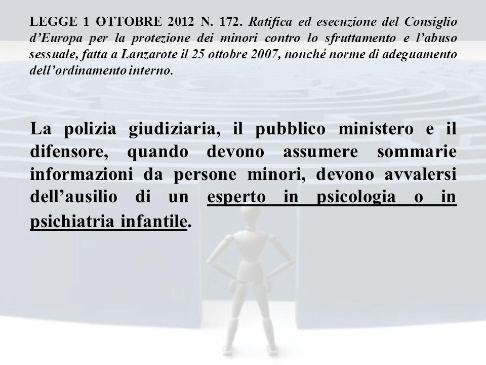 LEGGE 1 OTTOBRE 2012 N. 172. Ratifica ed esecuzione del Consiglio dEuropa per la protezione dei minori contro lo sfruttamento e labuso sessuale, fatta