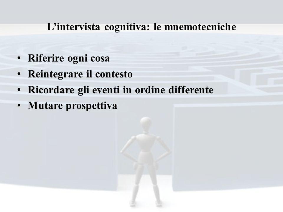 Lintervista cognitiva: le mnemotecniche Riferire ogni cosa Reintegrare il contesto Ricordare gli eventi in ordine differente Mutare prospettiva