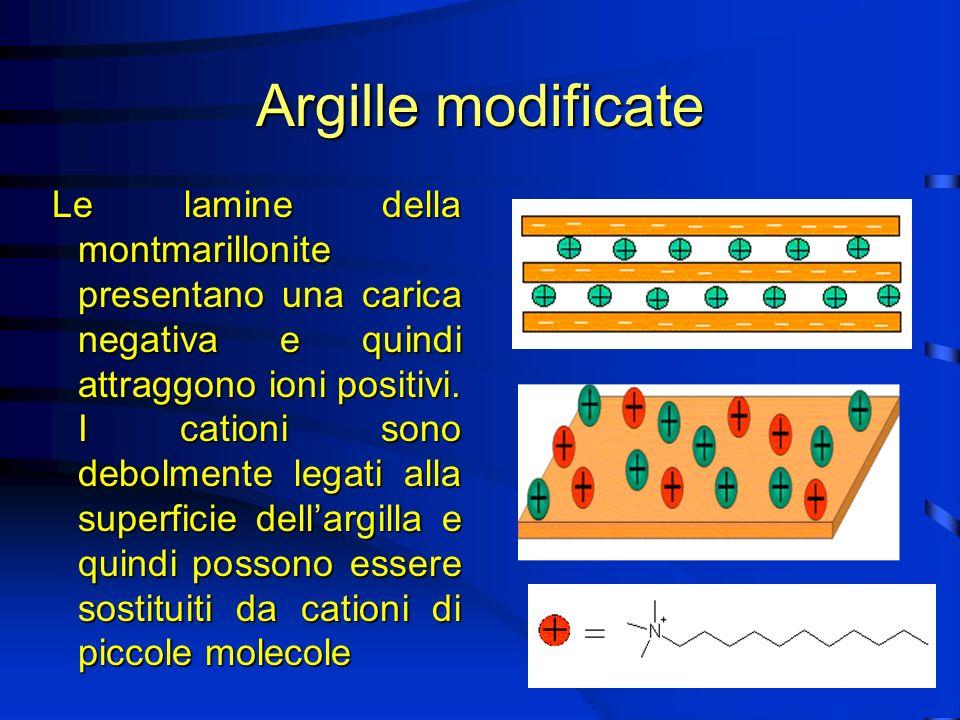 Argille modificate Le lamine della montmarillonite presentano una carica negativa e quindi attraggono ioni positivi.