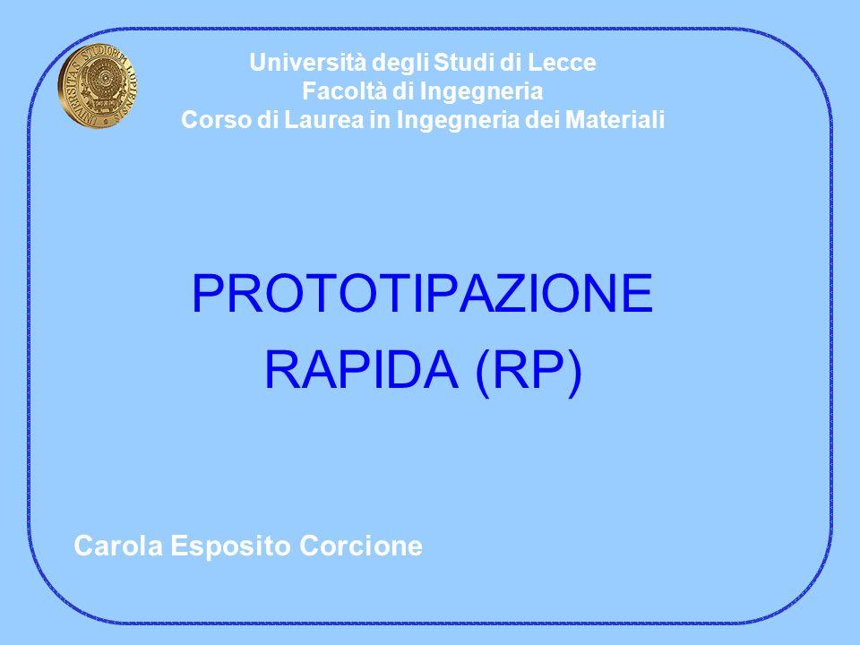 PROTOTIPAZIONE RAPIDA (RP) Università degli Studi di Lecce Facoltà di Ingegneria Corso di Laurea in Ingegneria dei Materiali Carola Esposito Corcione