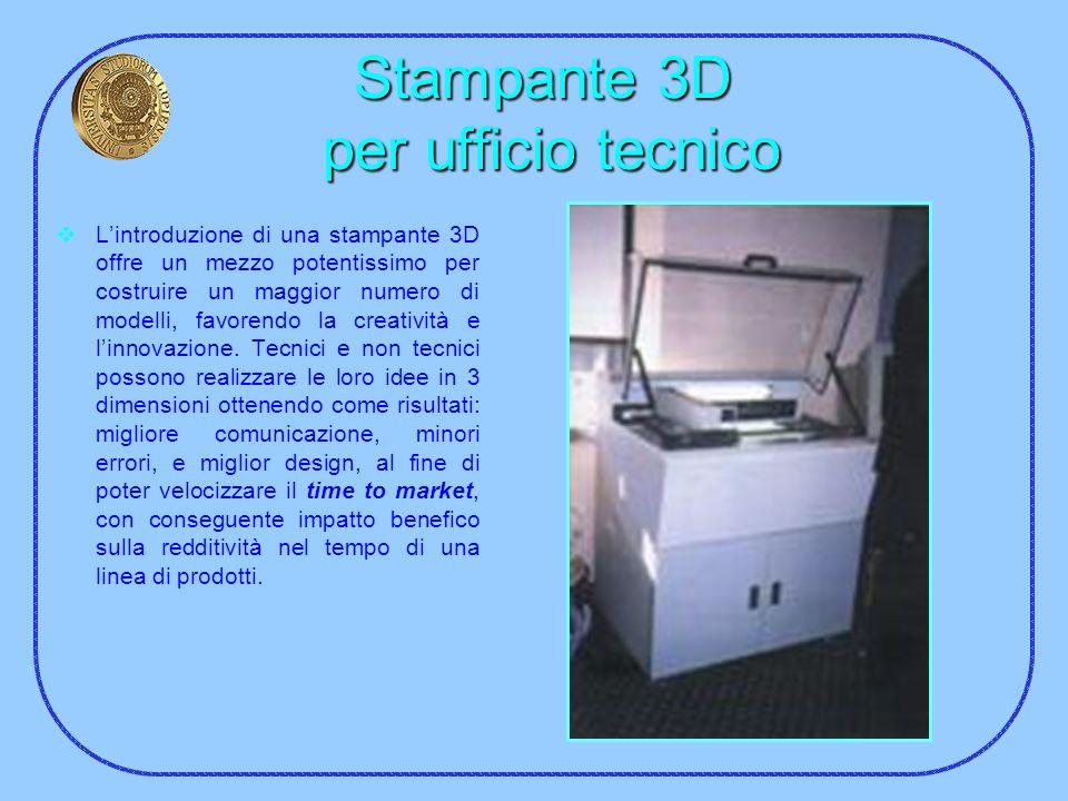 Stampante 3D per ufficio tecnico Lintroduzione di una stampante 3D offre un mezzo potentissimo per costruire un maggior numero di modelli, favorendo l