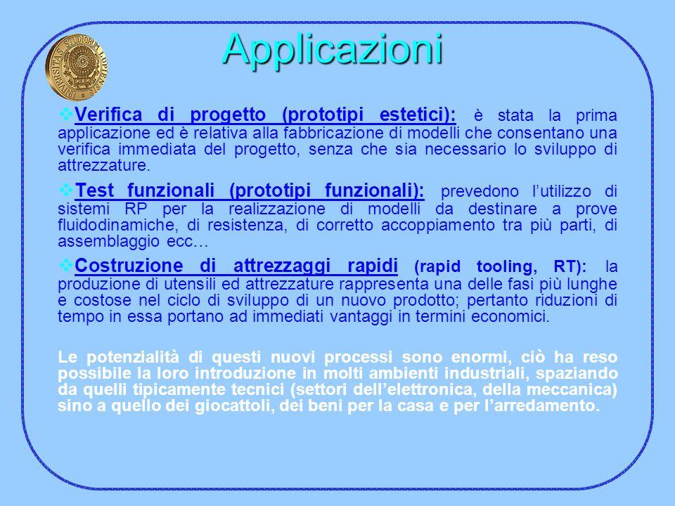 Applicazioni Verifica di progetto (prototipi estetici): è stata la prima applicazione ed è relativa alla fabbricazione di modelli che consentano una v