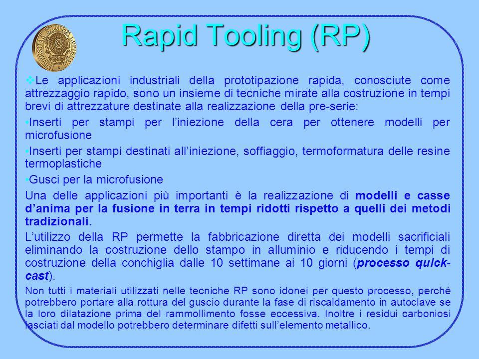 Rapid Tooling (RP) Le applicazioni industriali della prototipazione rapida, conosciute come attrezzaggio rapido, sono un insieme di tecniche mirate al
