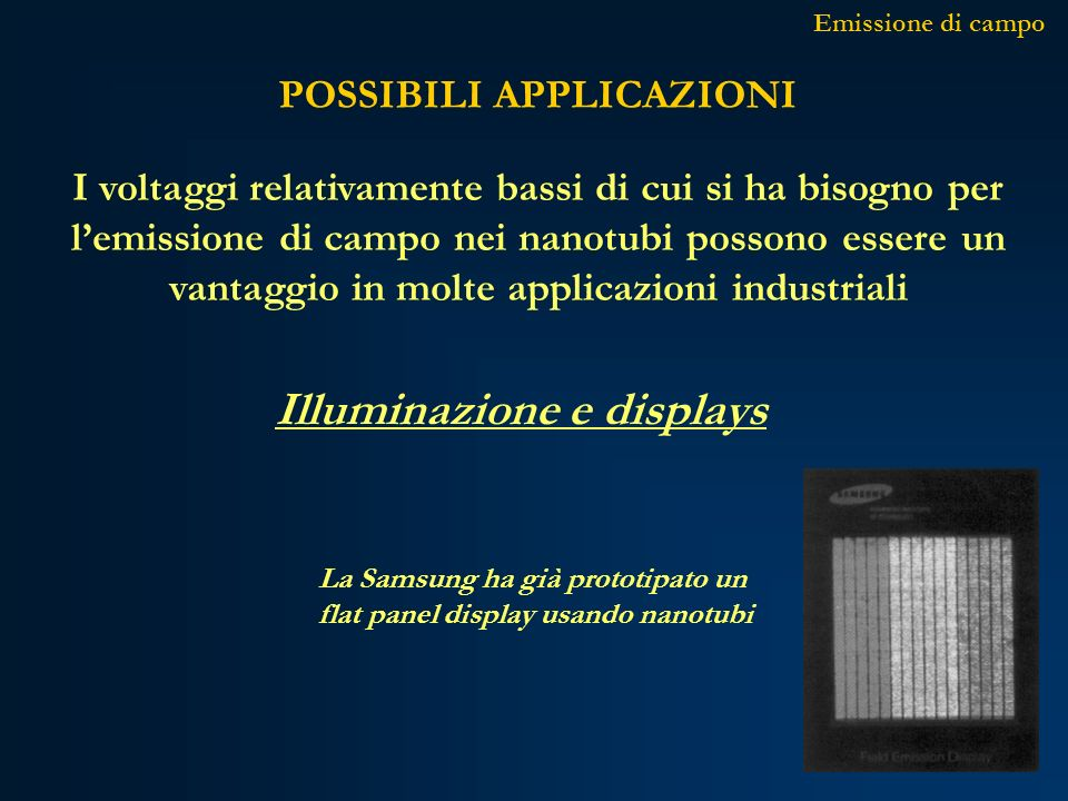 POSSIBILI APPLICAZIONI Emissione di campo La Samsung ha già prototipato un flat panel display usando nanotubi Illuminazione e displays I voltaggi rela
