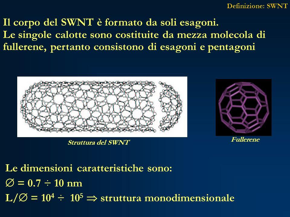 Il corpo del SWNT è formato da soli esagoni. Le singole calotte sono costituite da mezza molecola di fullerene, pertanto consistono di esagoni e penta