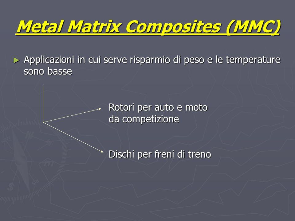 Metal Matrix Composites (MMC) Applicazioni in cui serve risparmio di peso e le temperature sono basse Applicazioni in cui serve risparmio di peso e le