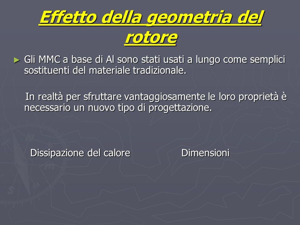 Effetto della geometria del rotore Gli MMC a base di Al sono stati usati a lungo come semplici sostituenti del materiale tradizionale. Gli MMC a base