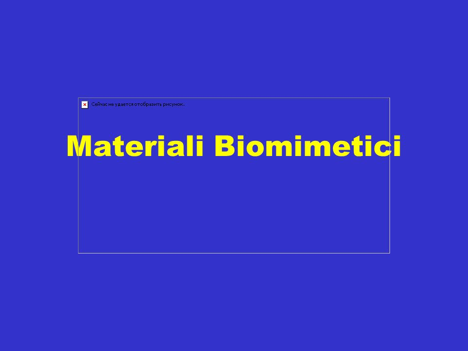 Materiali biomimetici La necessità di rimpiazzare tessuti o organi non funzionanti ha stimolato la ricerca di sostituti dorgano e di protesi.
