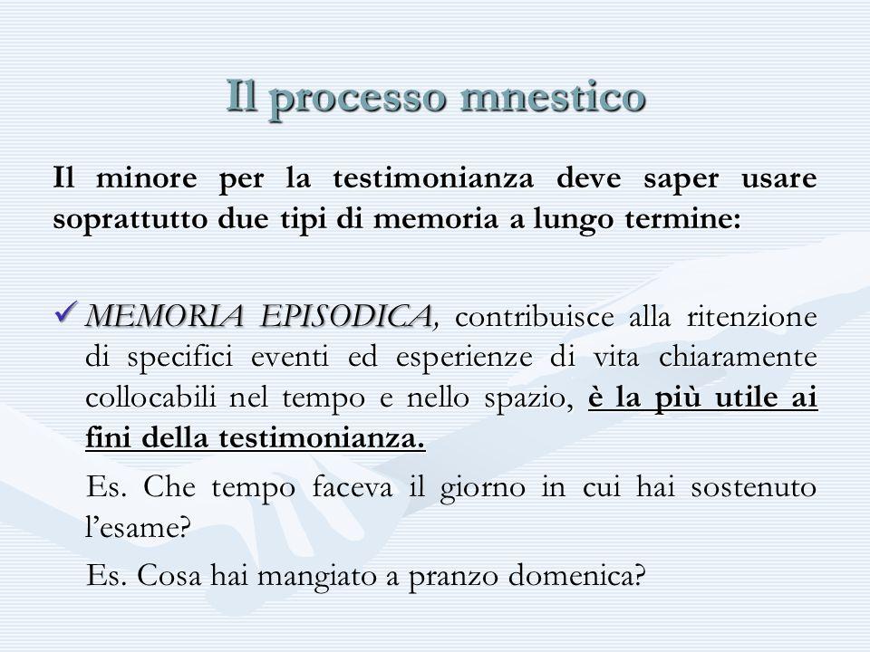 Il processo mnestico Il minore per la testimonianza deve saper usare soprattutto due tipi di memoria a lungo termine: MEMORIA EPISODICA, contribuisce