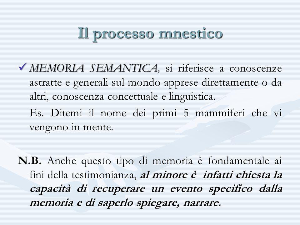 Il processo mnestico MEMORIA SEMANTICA, si riferisce a conoscenze astratte e generali sul mondo apprese direttamente o da altri, conoscenza concettual
