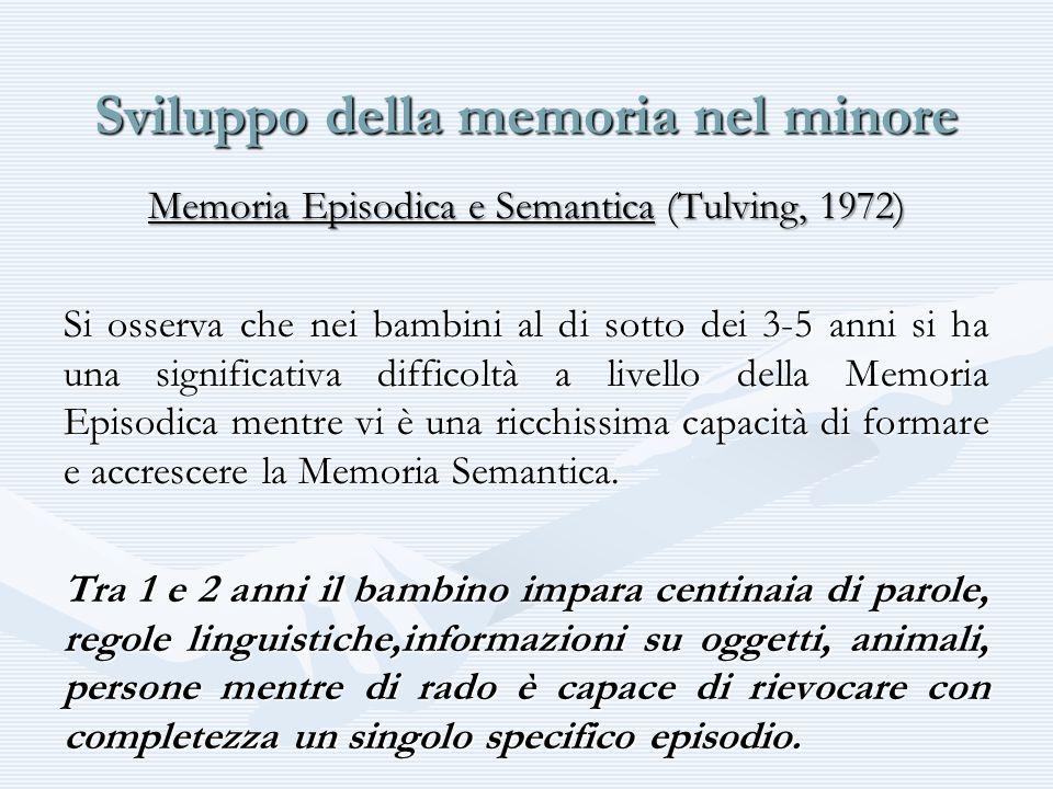Sviluppo della memoria nel minore Memoria Episodica e Semantica (Tulving, 1972) Si osserva che nei bambini al di sotto dei 3-5 anni si ha una signific