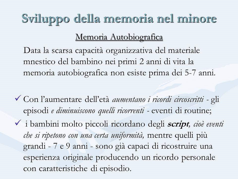 Sviluppo della memoria nel minore Memoria Autobiografica Data la scarsa capacità organizzativa del materiale mnestico del bambino nei primi 2 anni di