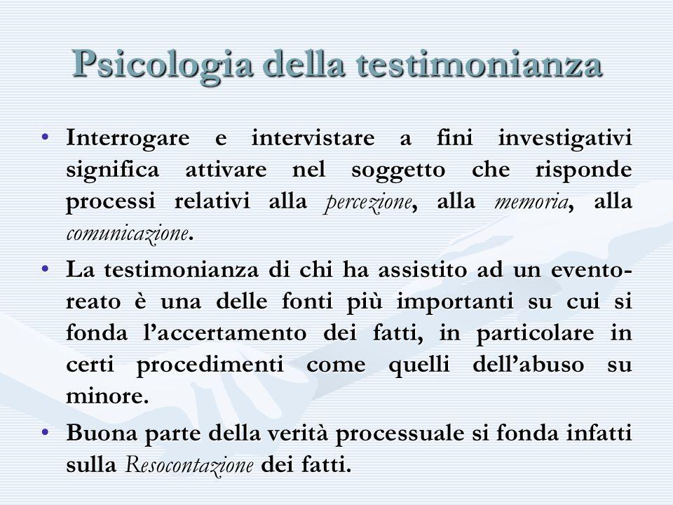 Psicologia della testimonianza Interrogare e intervistare a fini investigativi significa attivare nel soggetto che risponde processi relativi alla per