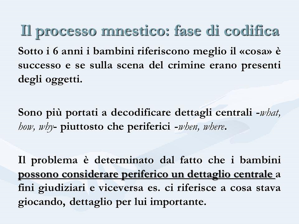 Il processo mnestico: fase di codifica Sotto i 6 anni i bambini riferiscono meglio il «cosa» è successo e se sulla scena del crimine erano presenti de