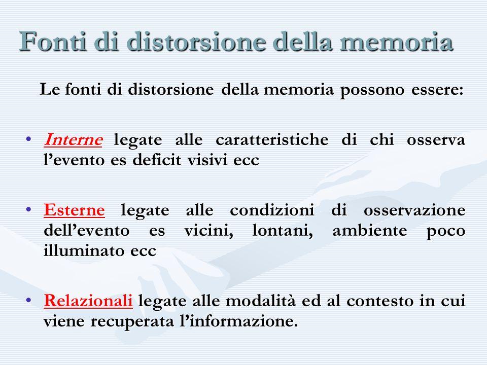 Fonti di distorsione della memoria Le fonti di distorsione della memoria possono essere: Le fonti di distorsione della memoria possono essere: Interne