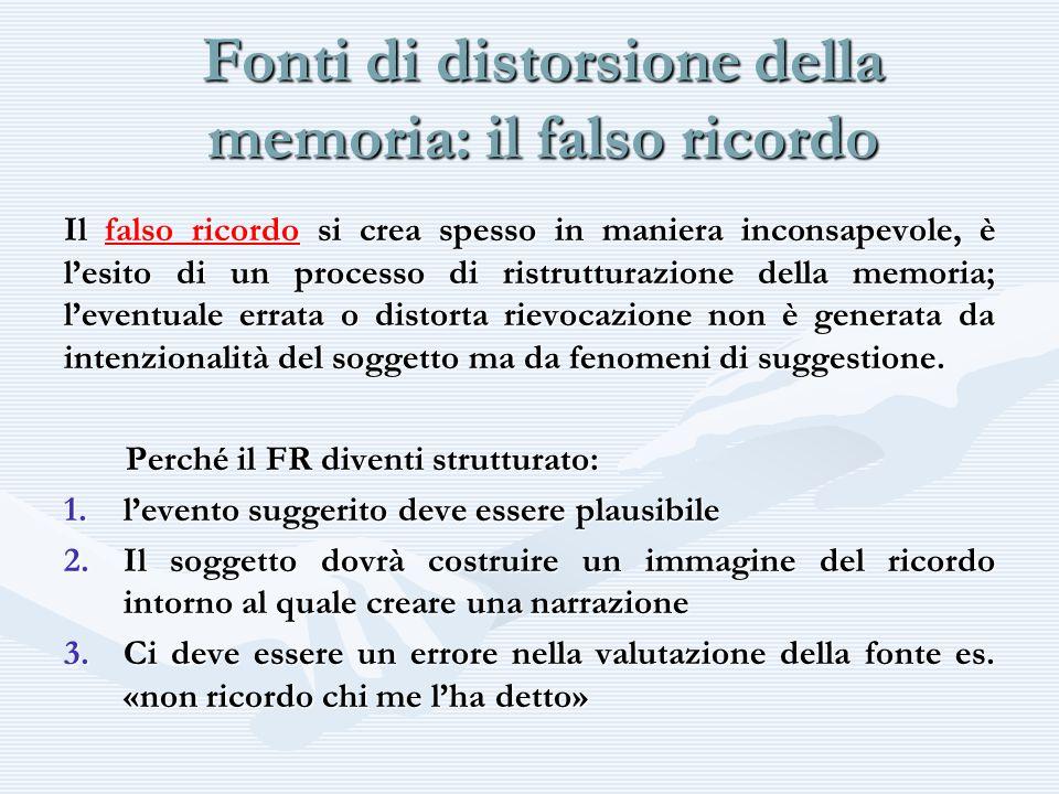 Fonti di distorsione della memoria: il falso ricordo Il falso ricordo si crea spesso in maniera inconsapevole, è lesito di un processo di ristrutturaz