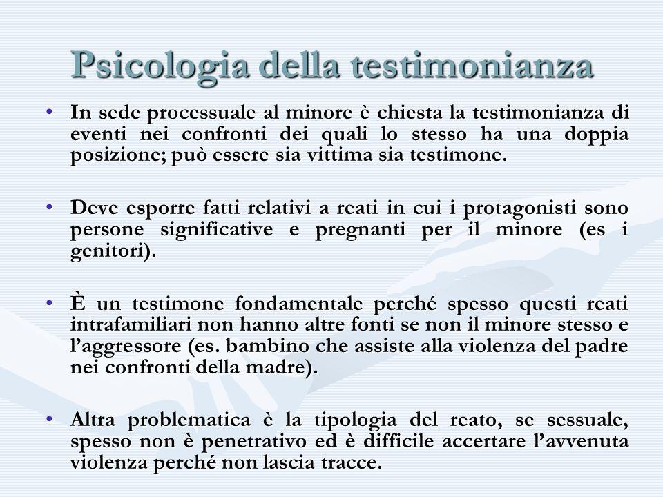 Psicologia della testimonianza In sede processuale al minore è chiesta la testimonianza di eventi nei confronti dei quali lo stesso ha una doppia posi