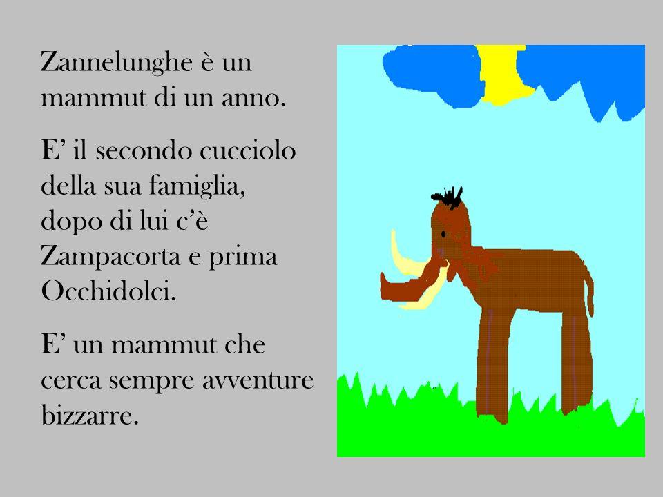 Zannelunghe è un mammut di un anno. E il secondo cucciolo della sua famiglia, dopo di lui cè Zampacorta e prima Occhidolci. E un mammut che cerca semp