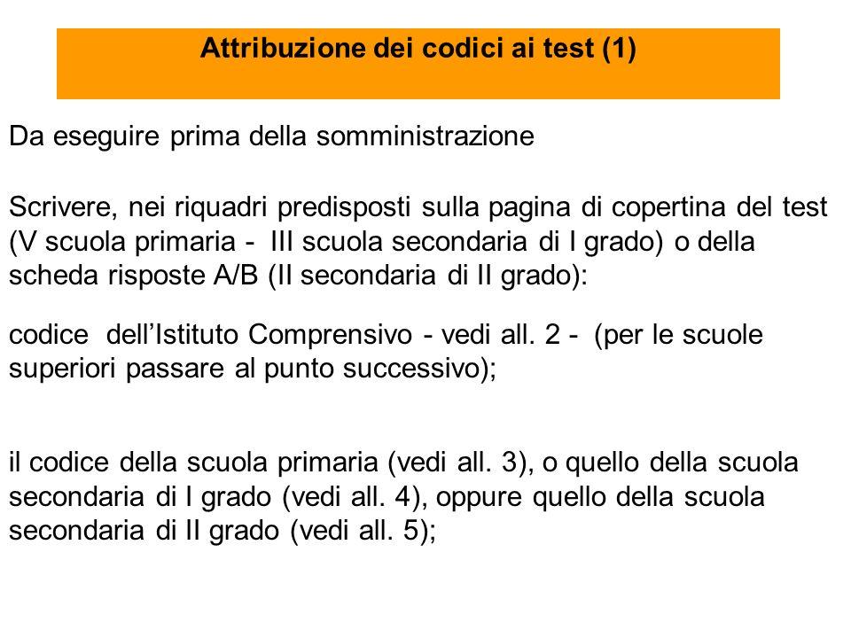 Attribuzione dei codici ai test (1) Da eseguire prima della somministrazione Scrivere, nei riquadri predisposti sulla pagina di copertina del test (V