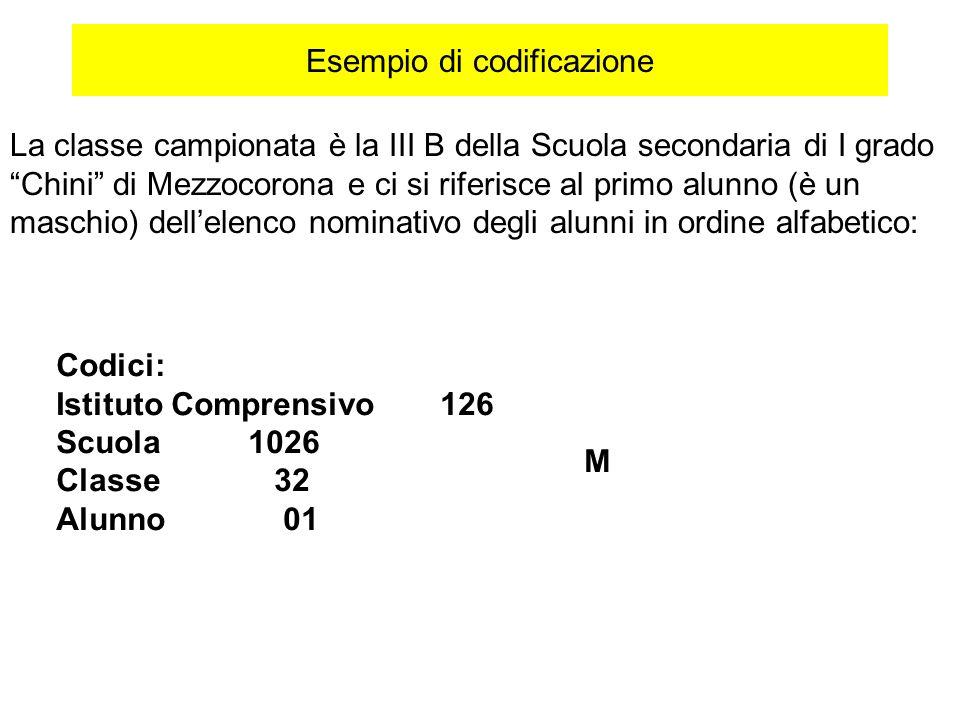 Esempio di codificazione La classe campionata è la III B della Scuola secondaria di I grado Chini di Mezzocorona e ci si riferisce al primo alunno (è
