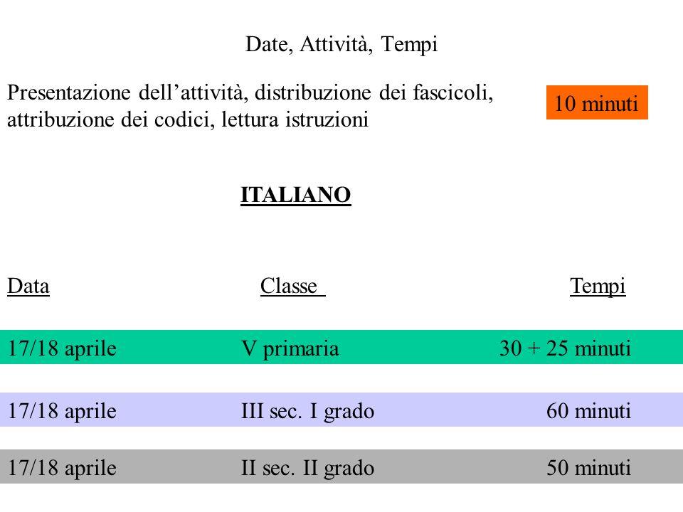 Date, Attività, Tempi Data Classe Tempi Presentazione dellattività, distribuzione dei fascicoli, attribuzione dei codici, lettura istruzioni 10 minuti