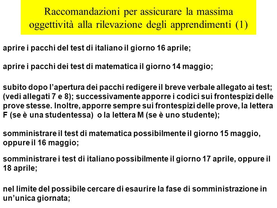 Raccomandazioni per assicurare la massima oggettività alla rilevazione degli apprendimenti (1) aprire i pacchi del test di italiano il giorno 16 april