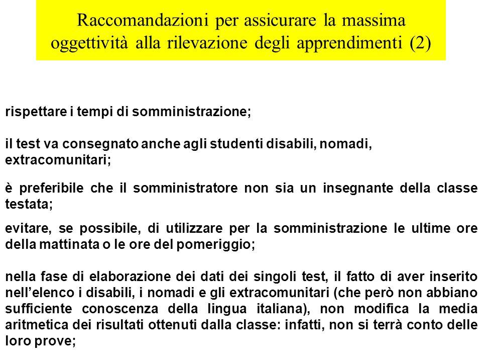 Raccomandazioni per assicurare la massima oggettività alla rilevazione degli apprendimenti (2) rispettare i tempi di somministrazione; il test va cons
