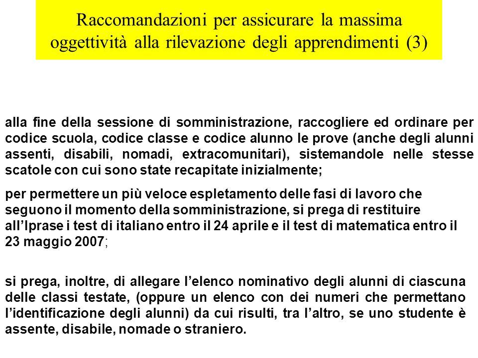 Raccomandazioni per assicurare la massima oggettività alla rilevazione degli apprendimenti (3) alla fine della sessione di somministrazione, raccoglie