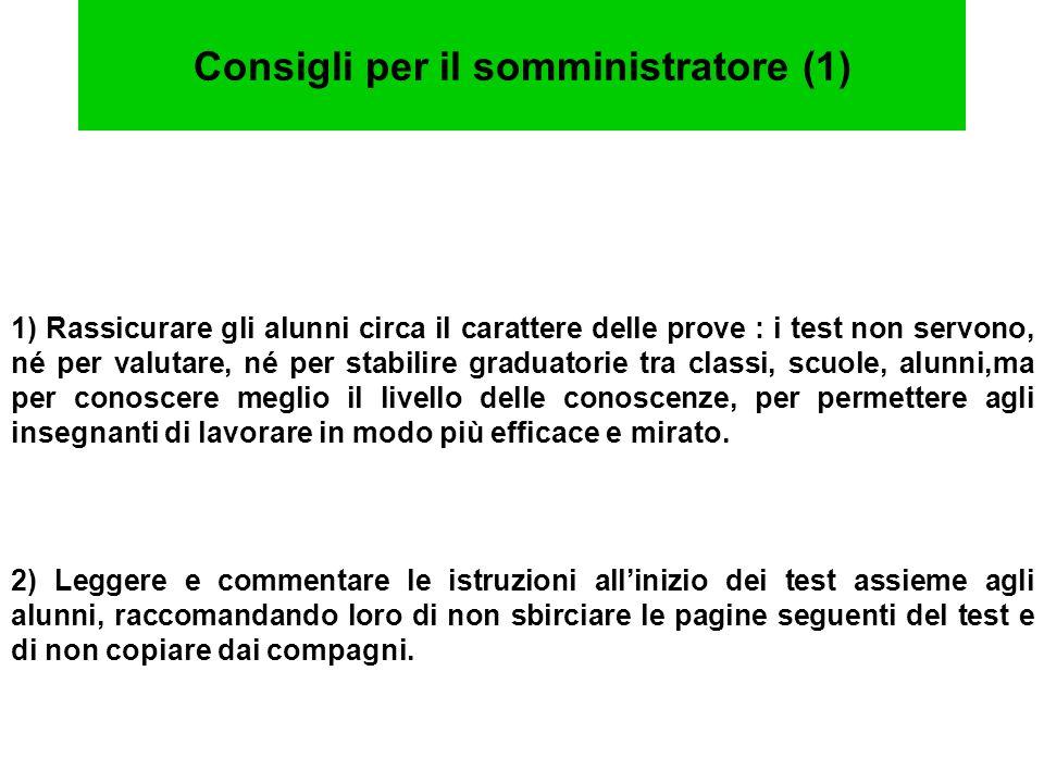 Consigli per il somministratore (2) 3) Comunicare i tempi a disposizione per terminare la prova.