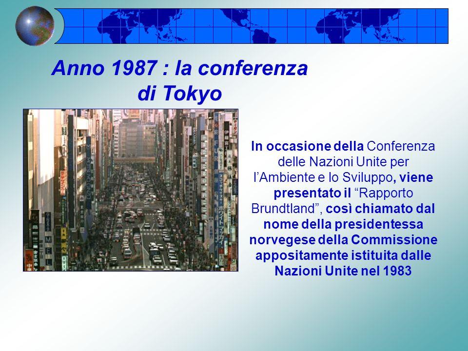 LONU crea una Commissione con il compito di trovare un modo per soddisfare i bisogni primari di una popolazione mondiale in continuo aumento Anno 1983