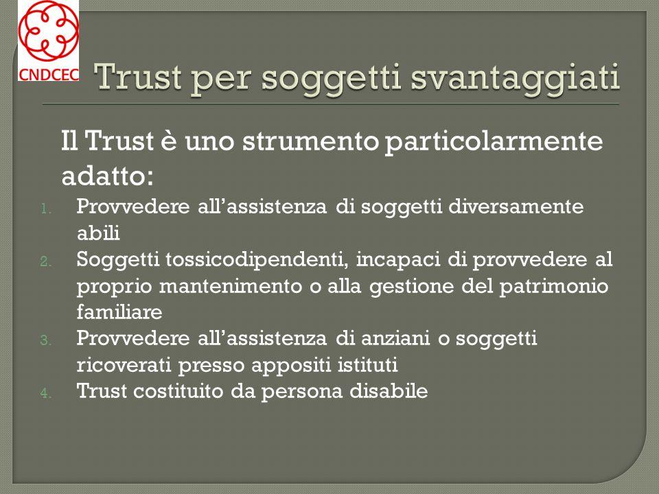 Il Trust può risultare utile anche per gli enti che si occupano di persone portatrici di disabilità Per organizzare in modo strutturato lassistenza dei soggetti deboli presso gli enti medesimi.