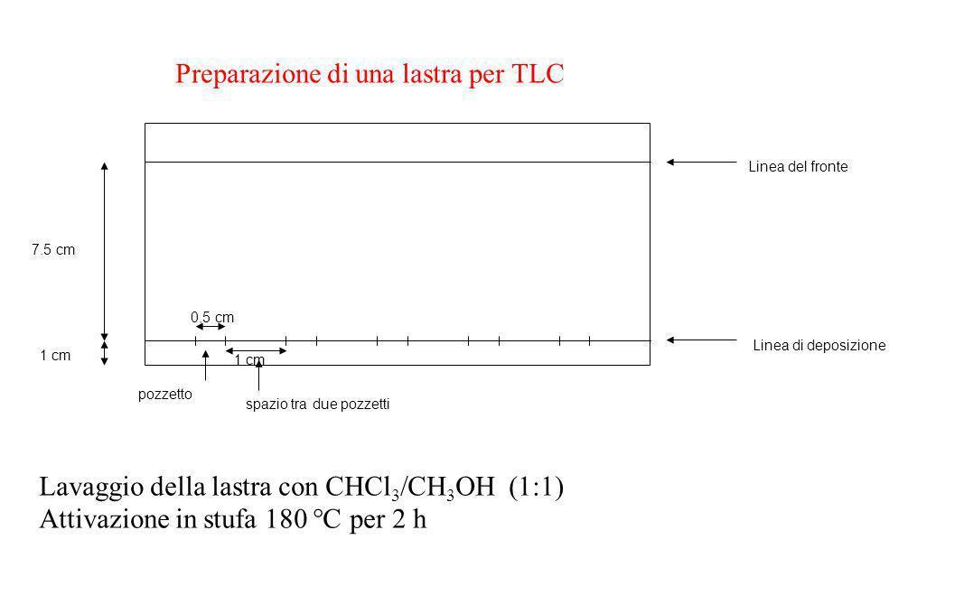 Linea di deposizione Linea del fronte 1 cm 7.5 cm 0,5 cm 1 cm pozzetto spazio tra due pozzetti Preparazione di una lastra per TLC Lavaggio della lastr