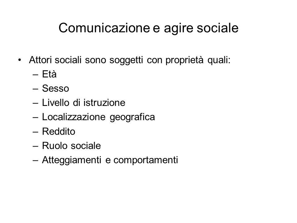 Comunicazione e agire sociale Attori sociali sono soggetti con proprietà quali: –Età –Sesso –Livello di istruzione –Localizzazione geografica –Reddito