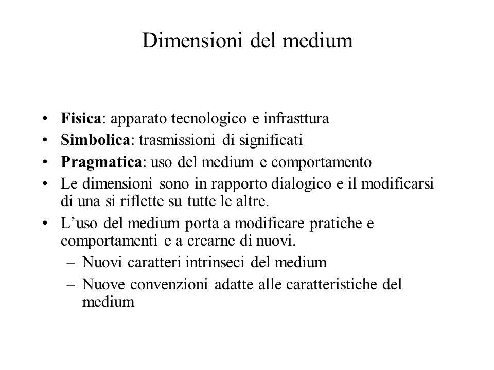 Dimensioni del medium Fisica: apparato tecnologico e infrasttura Simbolica: trasmissioni di significati Pragmatica: uso del medium e comportamento Le