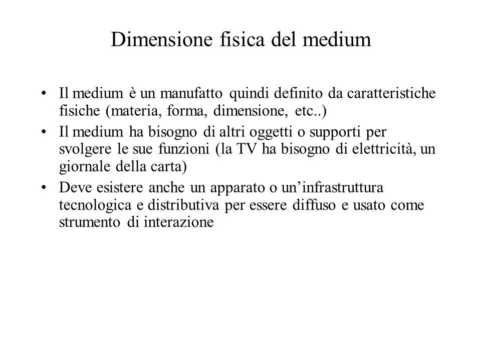 Dimensione fisica del medium Il medium è un manufatto quindi definito da caratteristiche fisiche (materia, forma, dimensione, etc..) Il medium ha biso